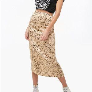 Forever 21 Leopard Silky Midi Skirt! NWT!